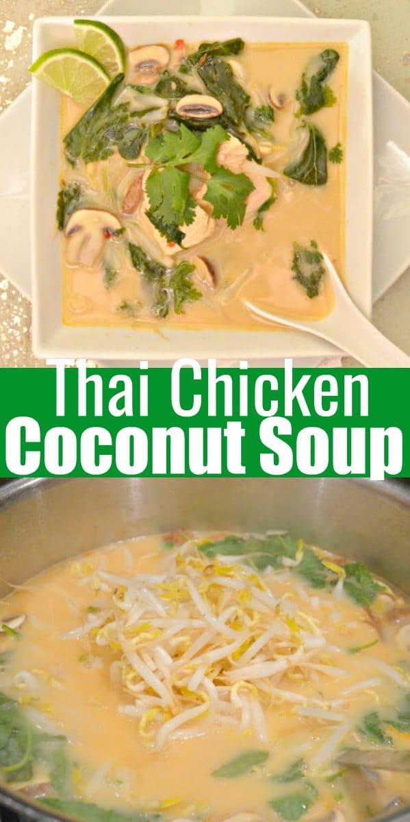 Thai Chicken Coconut Soup recipe or Tom Kha Gai is a easy to make Thai Soup recipe with a healthy twist from Serena Bakes Simply From Scratch.