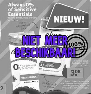 Gratis Always 0% of Sensitive Essentials Maandverband Bij Kruidvat