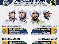 Jadwal Majlis Nurul Musthofa, 16 - 21 September 2019