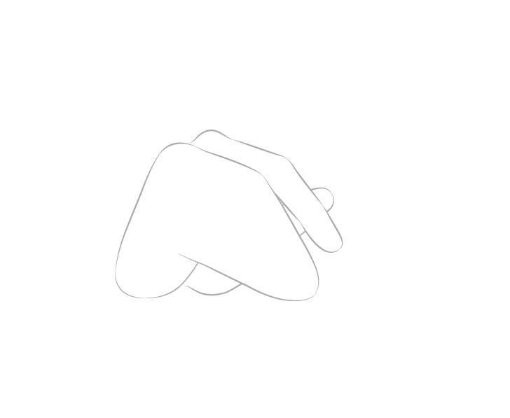 Indeks tangan memegang sumpit dan gambar jempol