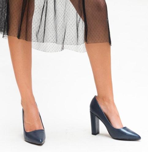 Pantofi office bleumarin cu toc gros si varf ascutit