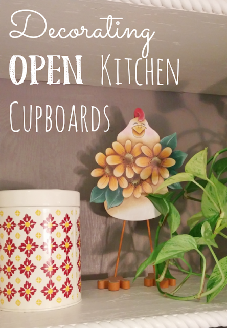 How to decorate open kitchen cupboards