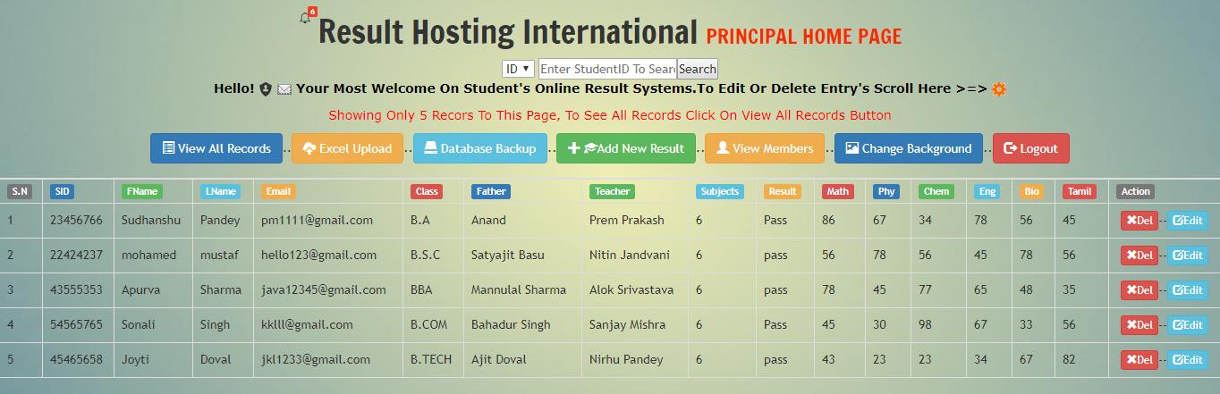 Online Exam Result System
