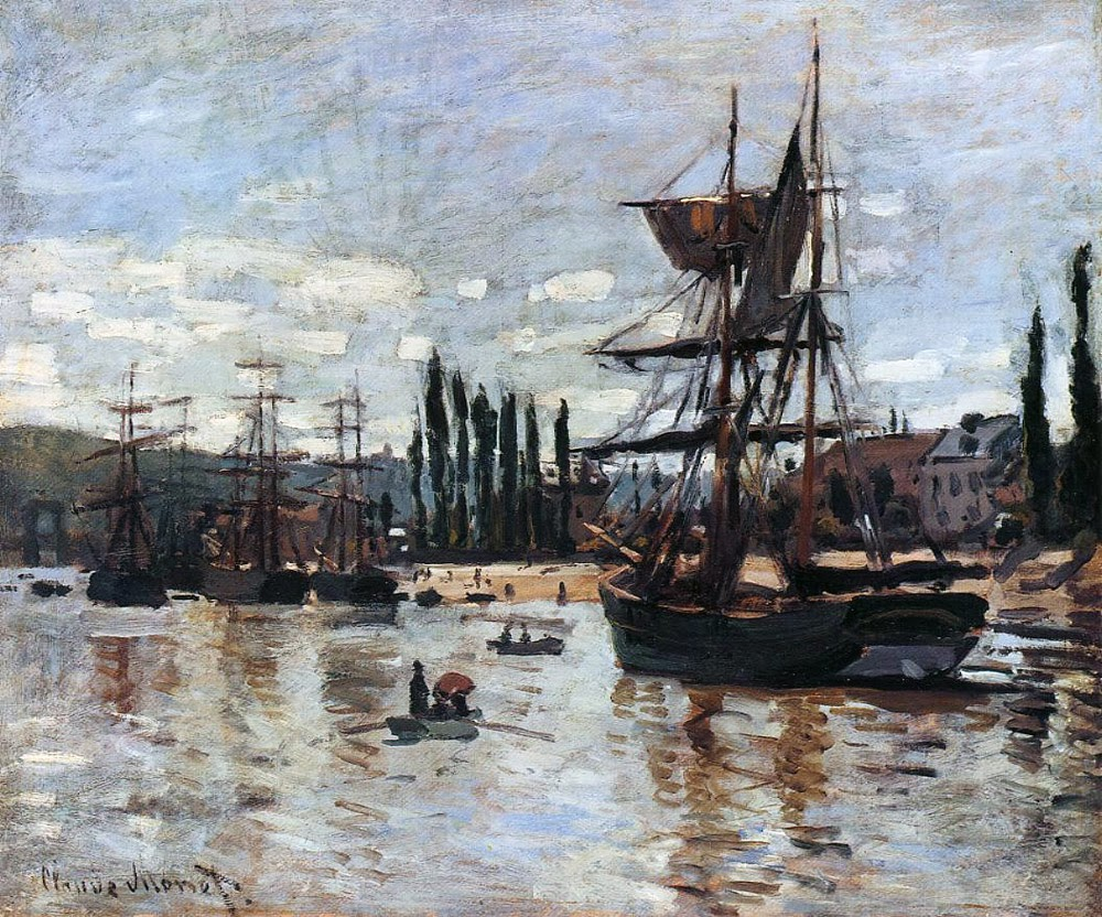 art artists claude monet part 5 1871 1872 claude monet 1872 boats at rouen oil on canvas private collection