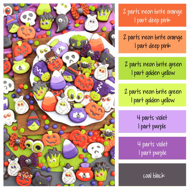 Color formulas for making frosting or royal icing in Halloween colors - orange, green, purple, and black