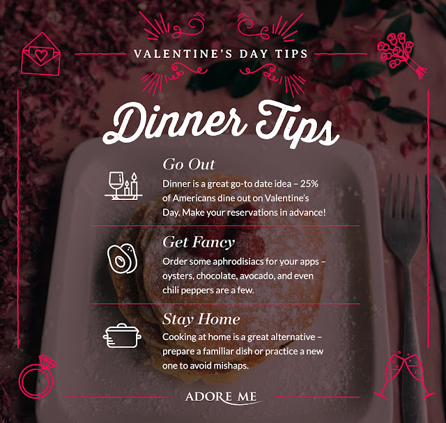 I have a surprise for you, ADORE ME and I wanted to insure that you have the perfect date night, so we partnered up, to give you advices on having the perfect Valentin's Day date dinner with your other half. Everything here is covered, from what you should wear to dinner tips to gift ideas and dating advices, so read the cards and plan well for your dinner date and you also can use these tips for any dinner date that is not on Valentine, so keep it, you never know when you need it.