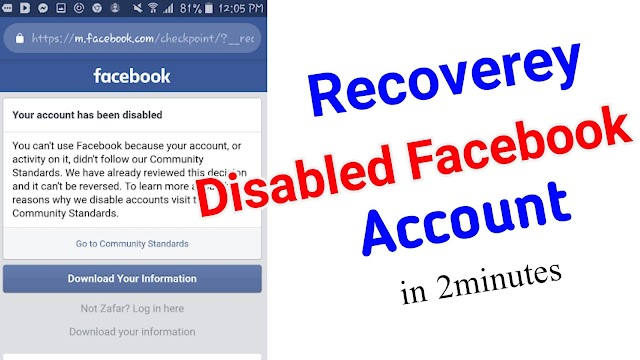 Recover Facebook Disable ID. Disable ID Back (2021)
