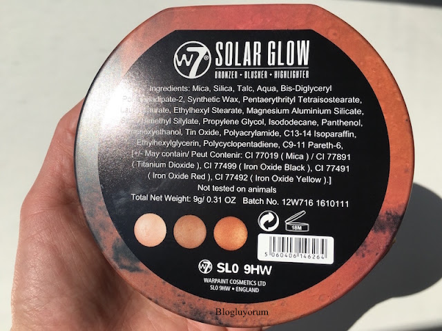 w7 solar glow bronzer bronze shimmer highlighter içerik