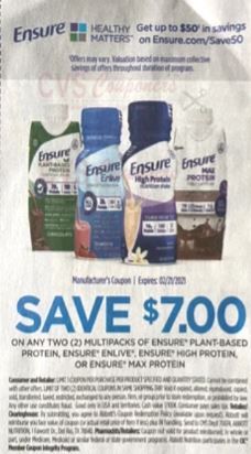 """$7.00/2-Ensure Plant-Based Protein, Enlive, High Protein or Max Protein Multipacks Coupon from """"SMARTSOURCE"""" insert week of 1/3/21."""
