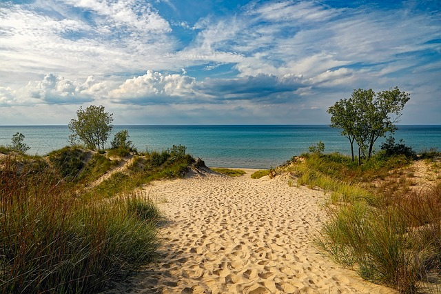 Views of the Trail with Sand and Grass in Lake Michigan beaches