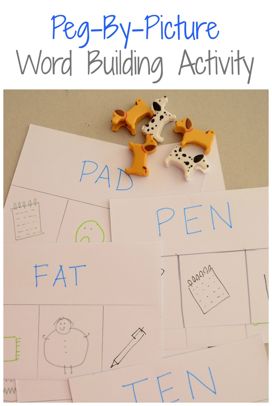 Word building activity using homemade sight word sheets and toy animals.