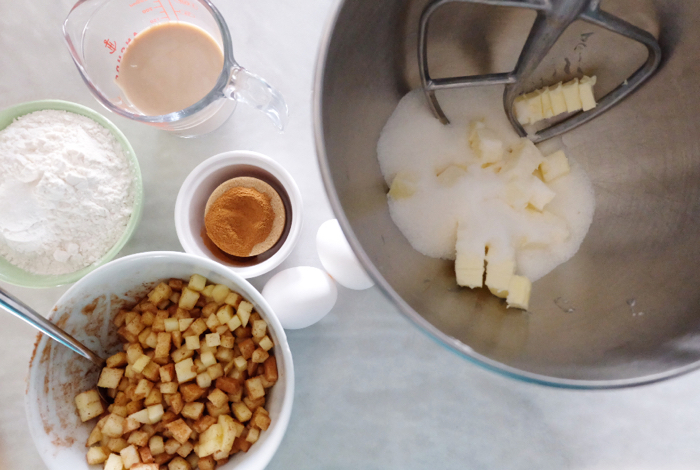 prepping apple fritter bread ingredients