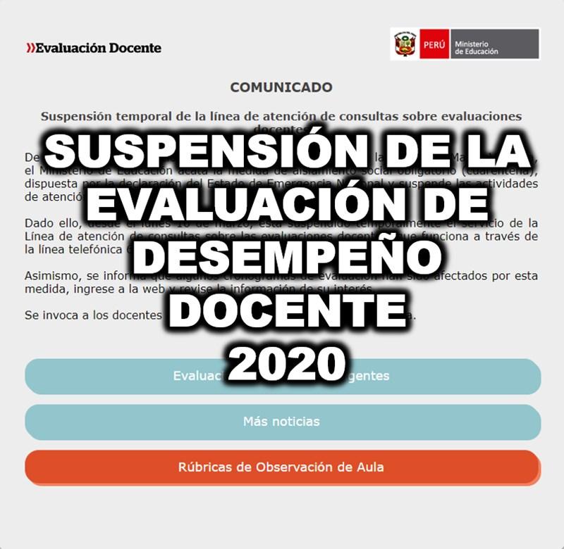 suspension de la evaluacion de desempeño docente 2020