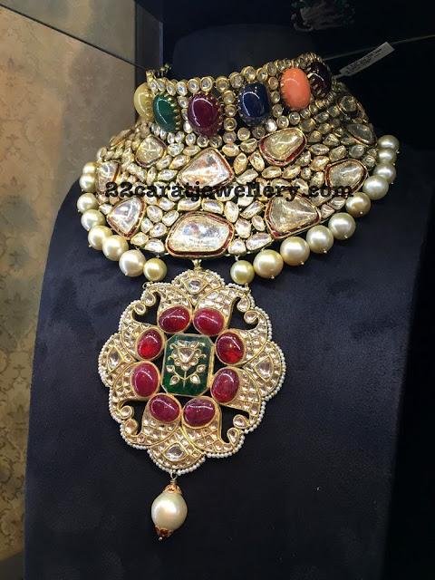 Kundan Collar Choker with Navaratan Stones