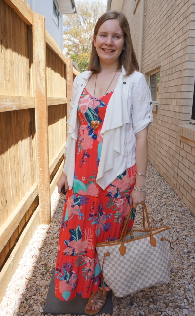 Kmart Tropicana sleeveless tiered maxi dress with waterfall jacket Louis vuitton neverfull | awayfromblue