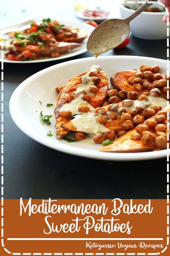 minute baked sweet potatoes topped with roasted chickpeas Mediterranean Baked Sweet Potatoes