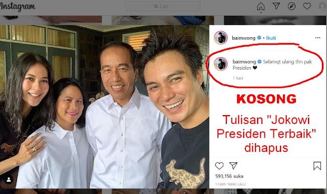 Foto baim wong dan Jokowi dibully