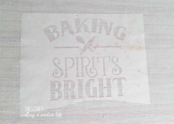 freezer paper stencil, diy christmas gift, tea towel