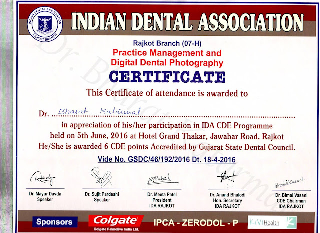 Certificate is awarded to Dr. Bharat Katarmal for attending for Practice Management by Dr. Sujit Pardeshi and Digital Dental Photography by Dr Mayur Davda
