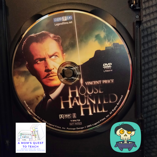 A Mom's Quest to Teach:  October Movies: Making a Plan for Fall Evenings - House on Haunted Hill DVD and skeleton clipart