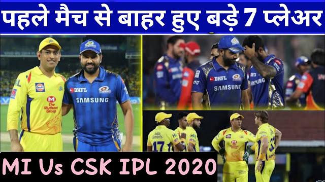 IPL 2020: पहले मैच में नहीं खेलेंगे यह 7 प्लेअर