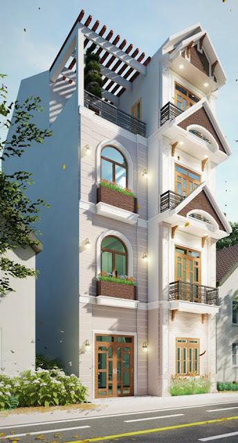 Revit nhà phố 4 tầng 7x13 mét