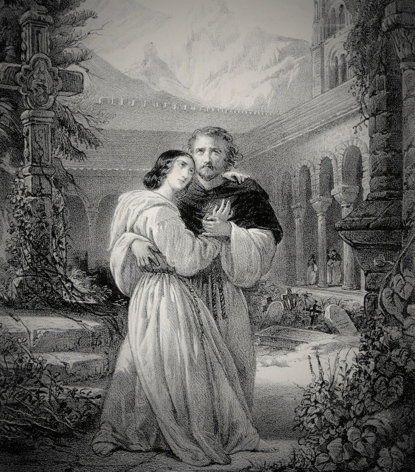 IN PERFORMANCE: Mezzo-soprano Rosine Stoltz as Léonor and tenor Gilbert Duprez as Fernand in the first production of Gaetano Donizetti's LA FAVORITE - Paris, 1840 [Lithograph by Émile Desmaisons, after François-Gabriel Lépaulle; public domain]