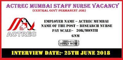 ACTREC Research Nurse Recruitment 2018