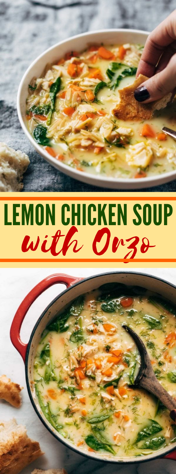 Lemon Chicken Soup with Orzo #healthy #healthysoup