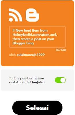 seting iffttt to blogger