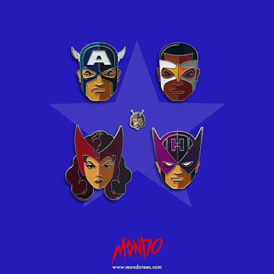 Captain America: Civil War Portrait Enamel Pin Series by Tom Whalen & Mondo - Team Cap Set