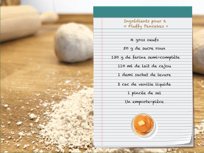 Ingrédients fluffy pancakes