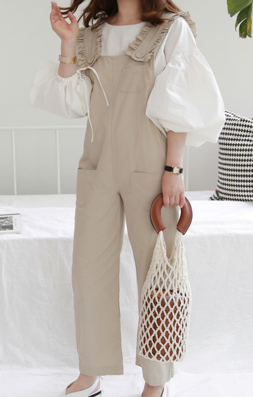 Balloon Sleeve Blouse And Wide-Leg Overalls (Set)