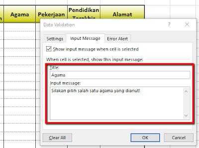 Cara cepat memasukan Data pada Excel dengan drop down