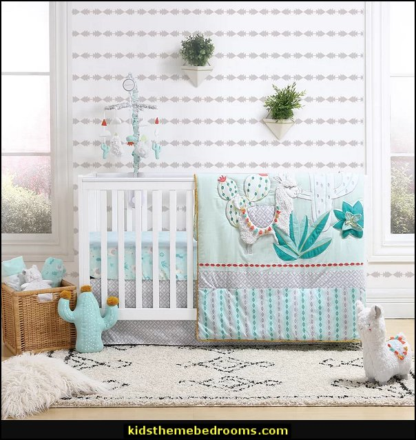 Little Llama 3 Piece Crib Bedding Set cactus nursery decorating cactus decor