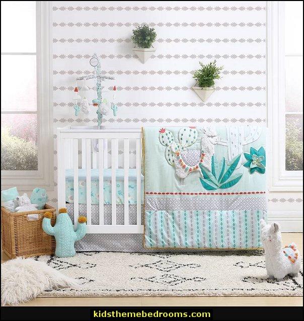 Little Llama 3 Piece Crib Bedding Set cactus nursery decorating cactus decor