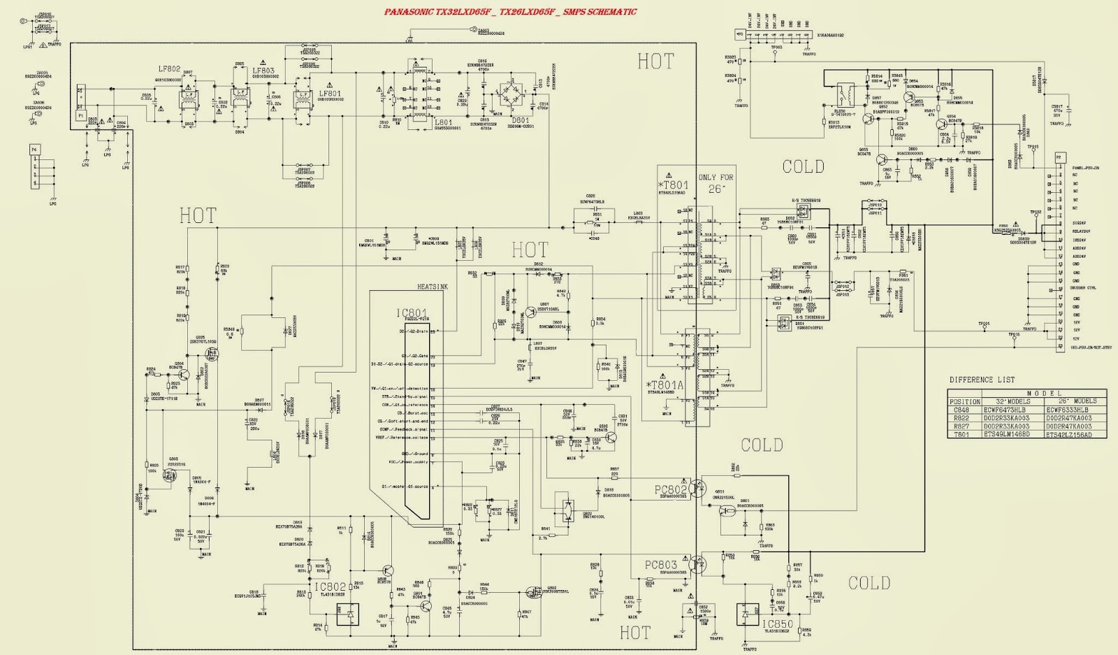 panasonic tx-26lxd65f - tx32lxd65f - smps (power supply ... panasonic tv wiring diagrams