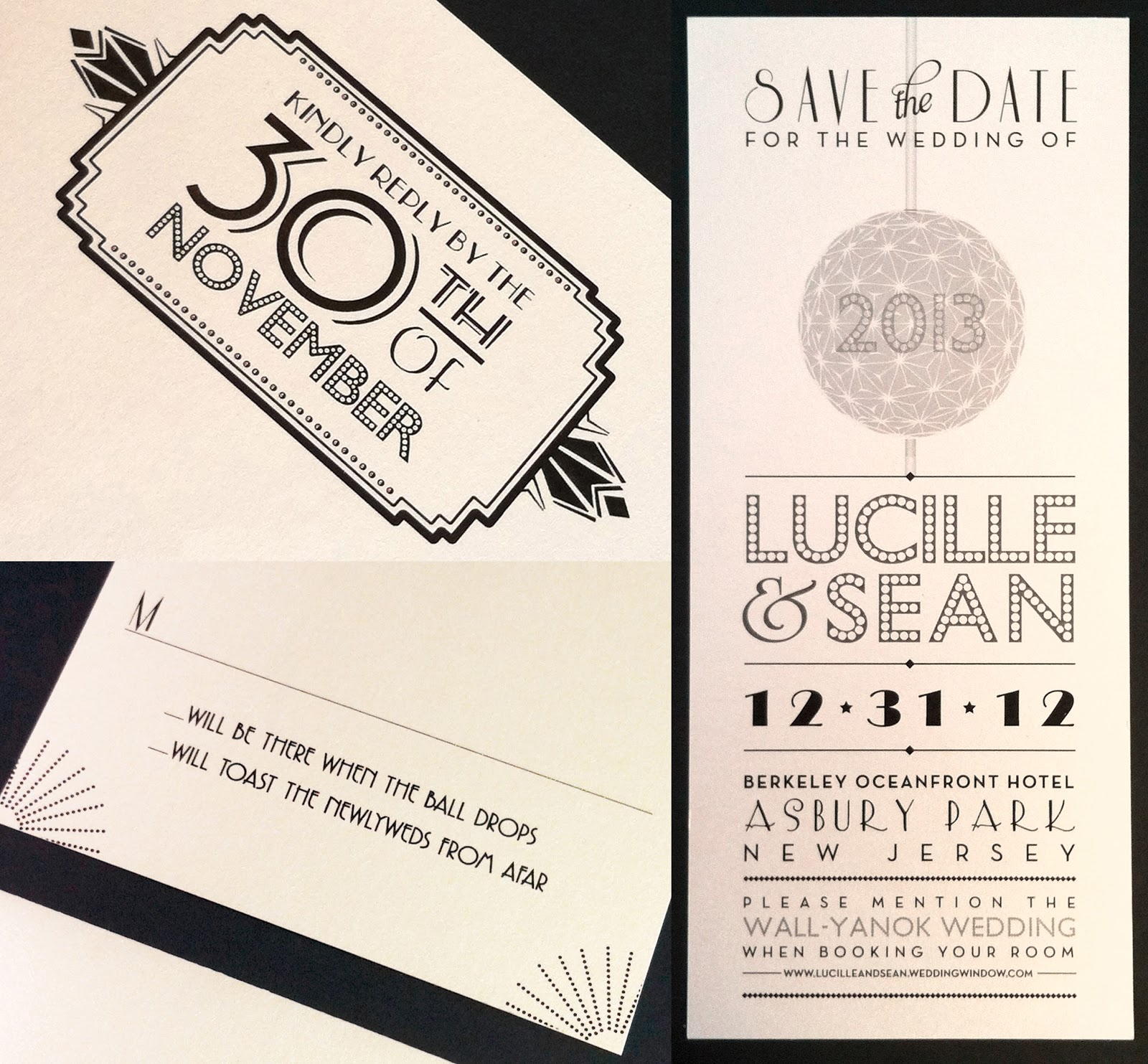 New Year S Eve Art Deco Wedding Invitation