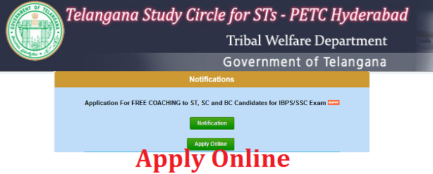 Telangana Study Circle Free Coaching for SC ST BC Candidates for IPBS and SSC Recruitment Exams. Telangana Study Circle for STs-PETC Hyderabad, invites applications online to twsis.cgg.gov.in from the eligible ST ,SC, and BC candidates for admission into the Coaching Program for IBPS/SSC Exams which includes free coaching, Note books, with payment of accommodation & boarding charges and other benefits. ibps-ssc-free-coaching-by-telangana-study-circle-apply-online
