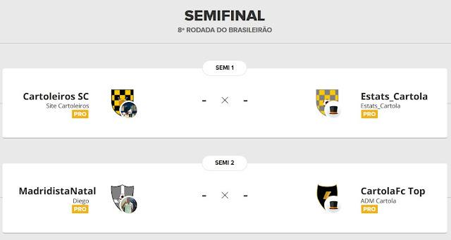 Cartoleiros SC #8: estamos nas semifinais da liga mata-mata do Cartola FC