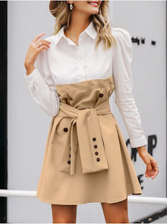 5 Chic and Classy Clothes for Fall 2020 - Suave Khaki Patchwork Tie Shirt Collar Mini Dress Women