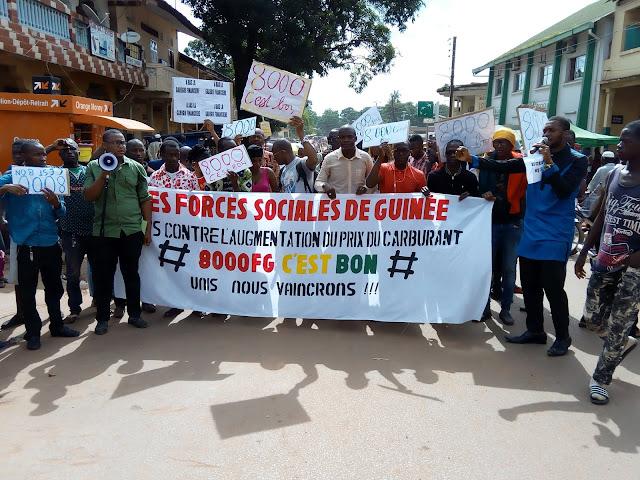 Guinée, Kindia, les Forces Sociales de Guinée  expriment leur désapprobation à l'augmentation du prix de carburant à la pompe