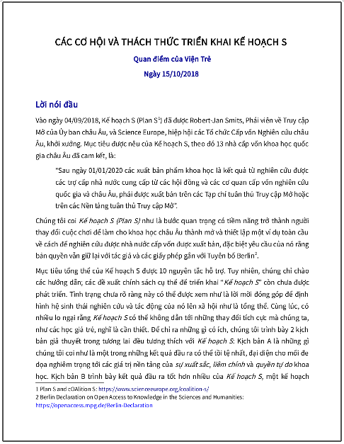 'Các cơ hội và thách thức triển khai Kế hoạch S - Quan điểm của Viện Trẻ' - bản dịch sang tiếng Việt