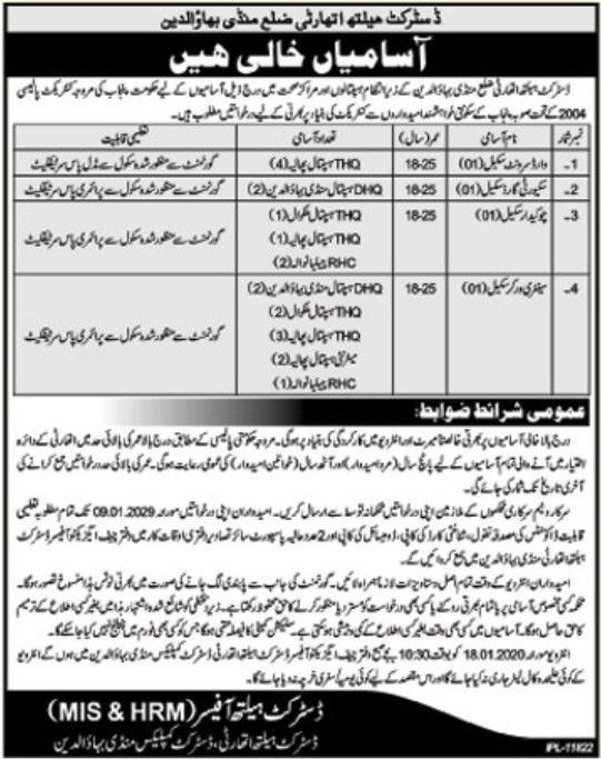 Jobs in District Health Authority District Mandi Bahauddin