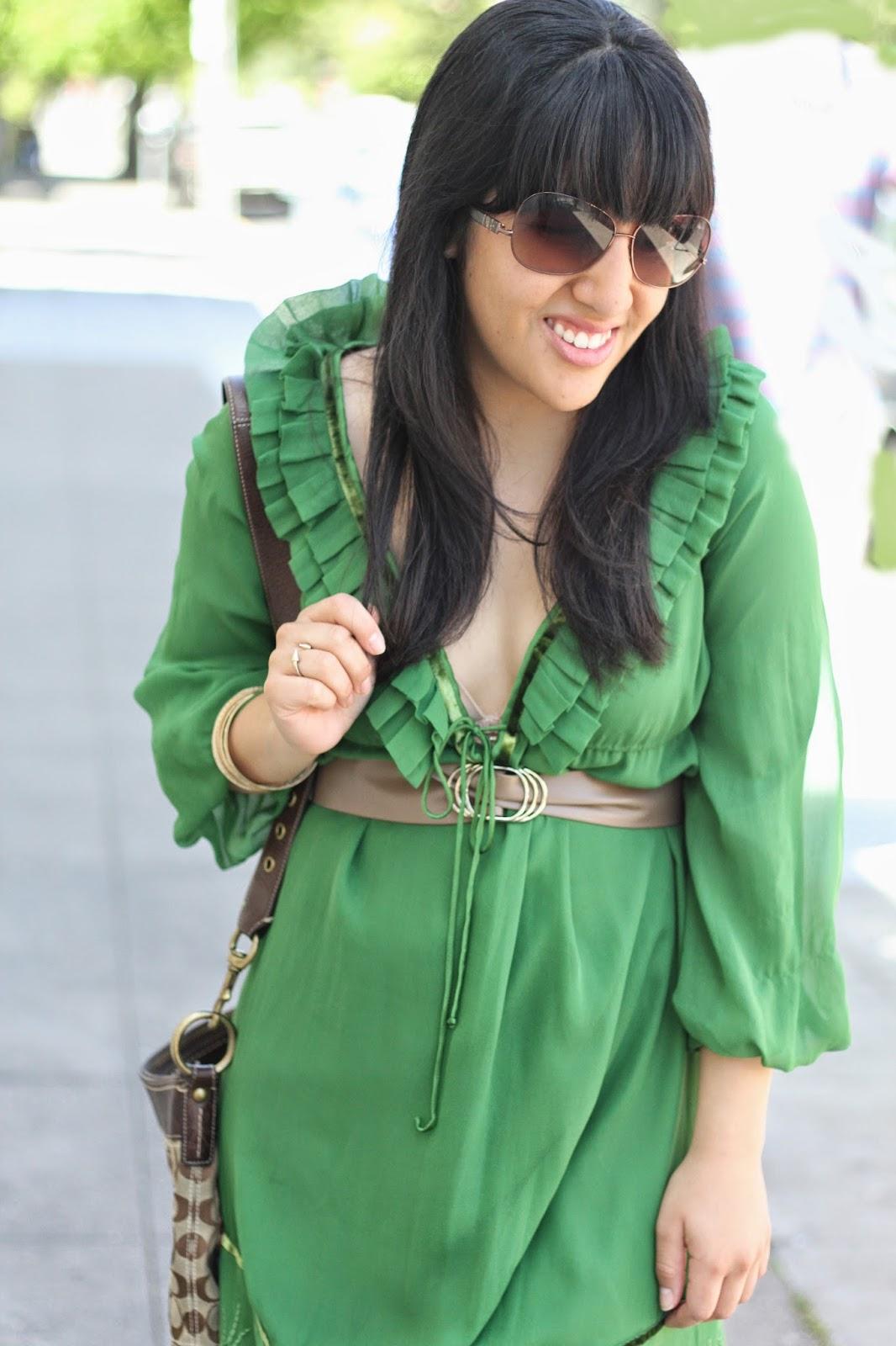 810cd2d825 Brandy Will Bake for Shoes. Green Shell Silk Dress Diane von Furstenberg