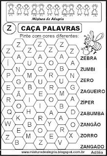 Caça palavras letra Z