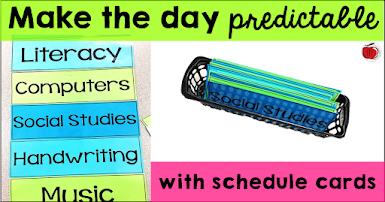 class day schedule cards post Terri's Teaching Treasures