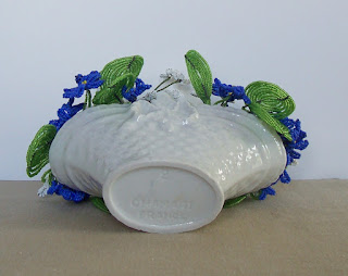 white  Porcelain Basket bottom view by Chamart with Limoges Beaded Flowers