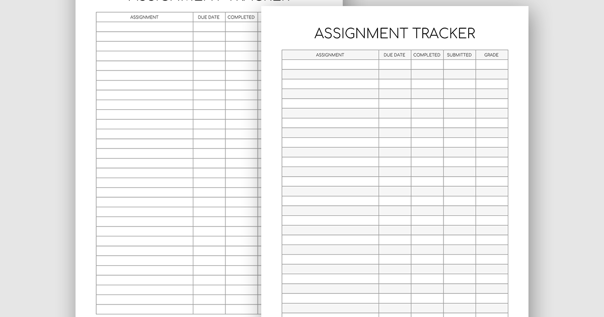 graphic about Assignment Tracker Printable titled Printable Assignment Tracker