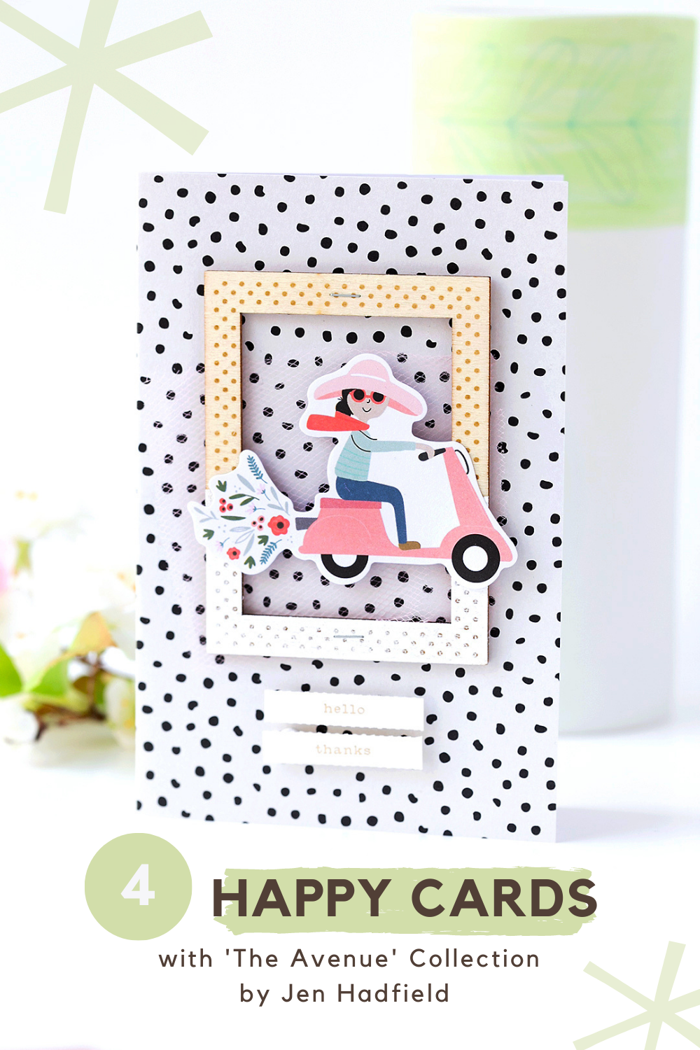 4 Happy Cards with 'The Avenue' Collection by Jen Hadfield